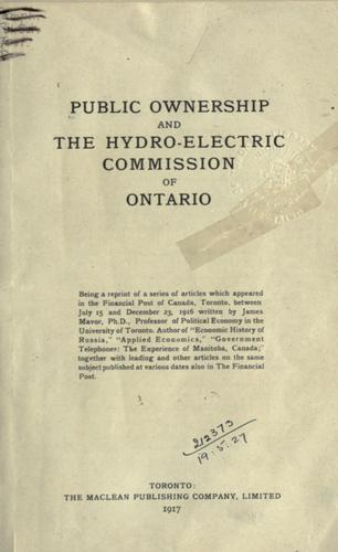 Public ownership and the Hydro-Electric Commission of Ontario