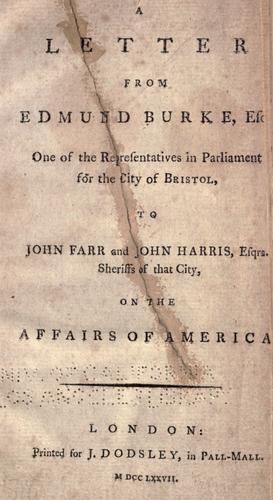 A letter from Edmund Burke