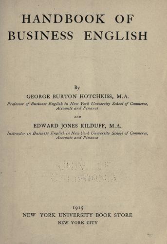 Handbook of business English