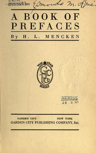 A book of prefaces by H. L. Mencken