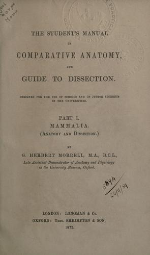 Student's manual of comparative anatomy and guide to dissection.