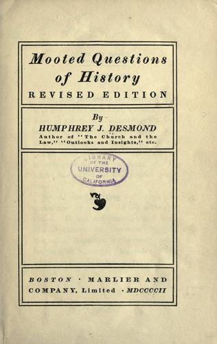 Download Mooted questions of history