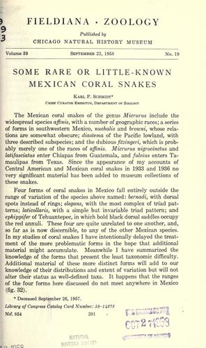 Some rare or little-known Mexican coral snakes.