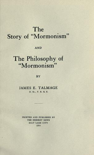 "The story of ""Mormonism"" and the Philosophy of ""Mormonism,"""