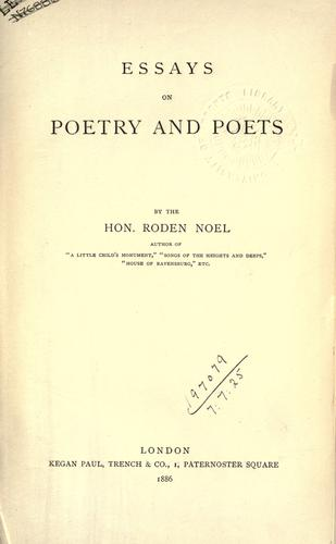 Download Essays on poetry and poets.