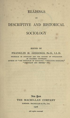 Readings in descriptive and historical sociology.
