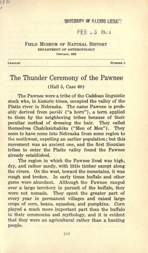 Download The thunder ceremony of the Pawnee