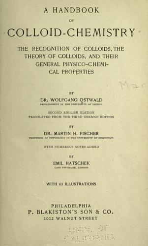 A handbook of colloid-chemistry