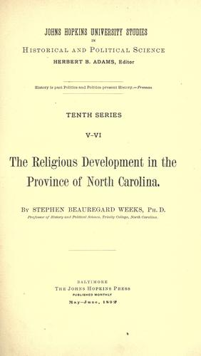 Download The religious development in the province of North Carolina