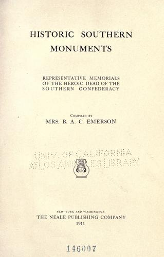 Historic southern monuments by Emerson, Bettie Alder Calhoun