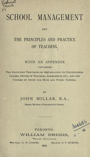 School management and the principles and practice of teaching