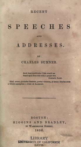 Download Recent speeches and addresses 1851-1856