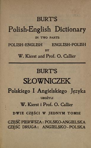 Burt's Polish-English dictionary in two parts