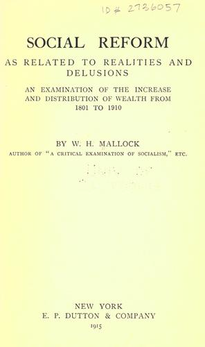 Download Social reform as related to realities and delusions