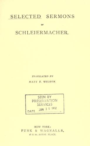 Download Selected sermons of Schleiermacher.