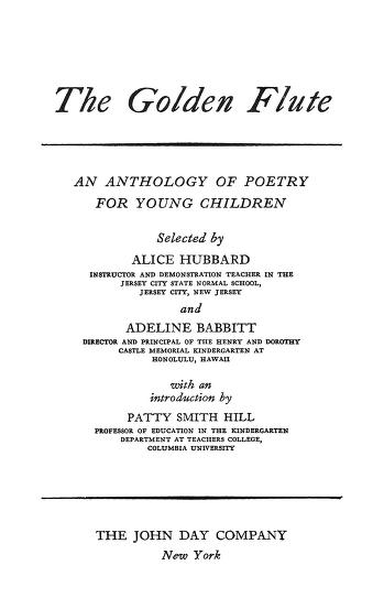 The Golden Flute An Anthology Of Poetry For Young Children By Adeline Babbitt In Pdf