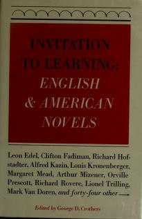 Cover of: Invitation to learning: English & American novels | edited by George D. Crothers.