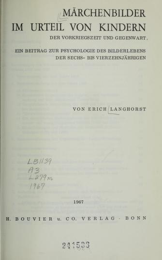 Cover of: Märchenbilder im Urteil von Kindern der Vorkriegszeit und Gegenwart   Erich Langhorst