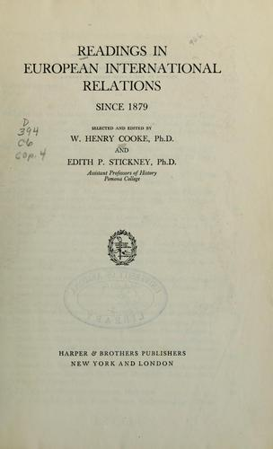 Readings in European international relations since 1879 by William Henry Cooke