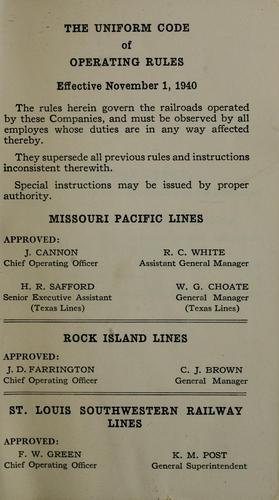 The Uniform code of operating rules effective November 1, 1940 by Missouri Pacific Railway Company