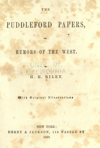 The Puddleford papers by