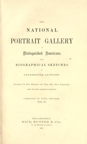 The national portrait gallery of distinguished Americans by