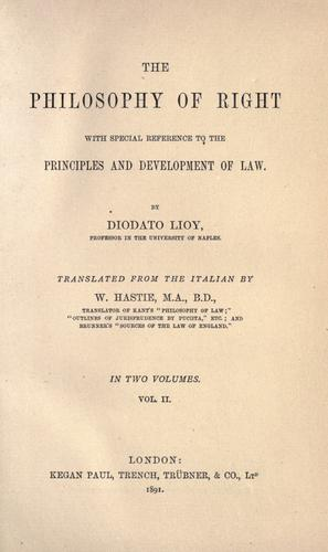 The Philosophy Of Right by Diodato Lioy
