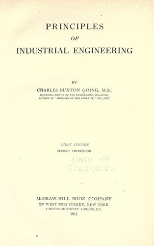 Principles of industrial engineering by Going, Charles Buxton