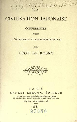 La civilisation japonaise by Léon de Rosny
