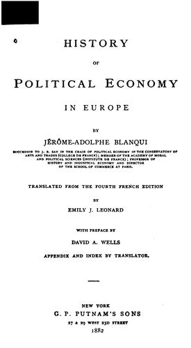 History of political economy in Europe.
