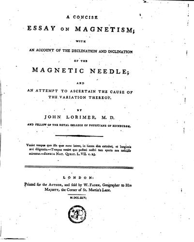 A concise essay on magnetism
