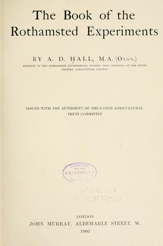 The book of the Rothamsted experiments