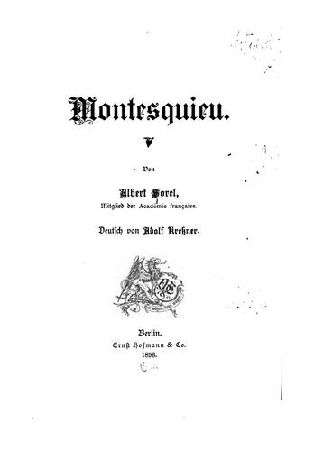 Montesquieu by Albert Sorel