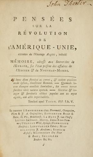 Pensées sur la révolution de l'Amérique-Unie
