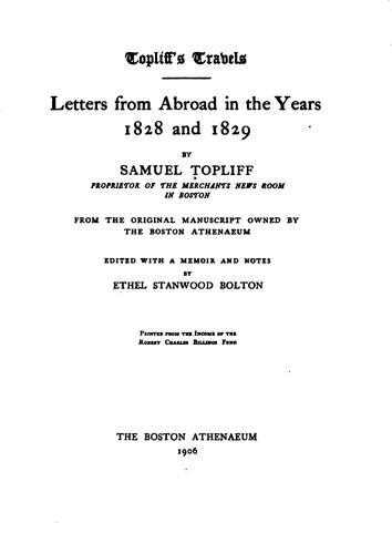 Topliff's travels.