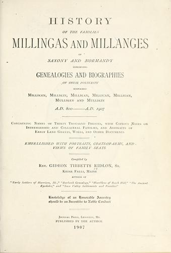 History of the families Millingas and Millanges by G. T. Ridlon