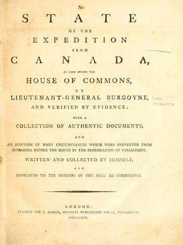 A state of the expedition from Canada by John Burgoyne