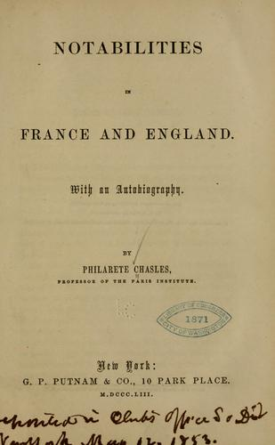 Notabilities in France and England by Philarète Chasles