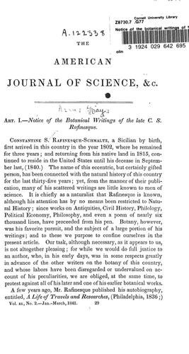 Notice of the botanical writings of the late C.S. Rafinesque by Asa Gray