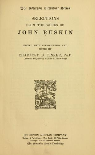 Selections from Ruskin by John Ruskin