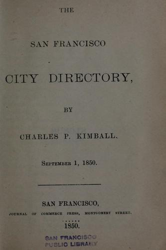 The San Francisco city directory by Kimball, Charles P.