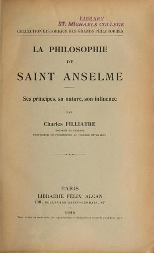 La philosophie de saint Anselme by Charles Filliatre