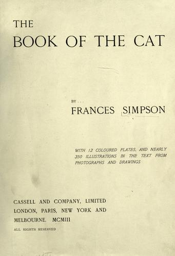 The book of the cat by Simpson, Frances Miss.