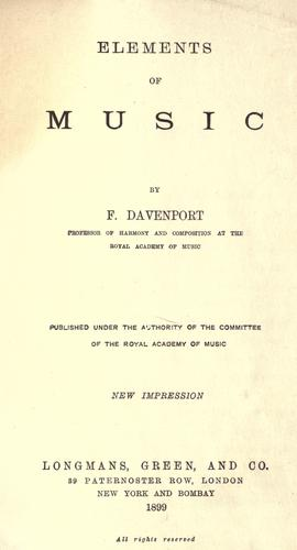 Elements of music by Francis Davenport