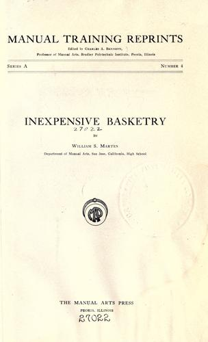 Inexpensive basketry by William Samuel Marten
