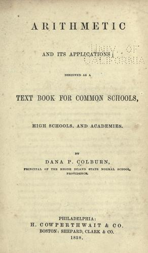 Arithmetic and its applications by Dana P. Colburn