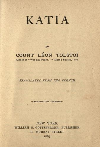 Katia by Tolstoy