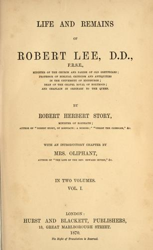 Life and remains of Robert Lee by Robert Herbert Story
