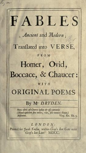 Fables ancient and modern by John Dryden