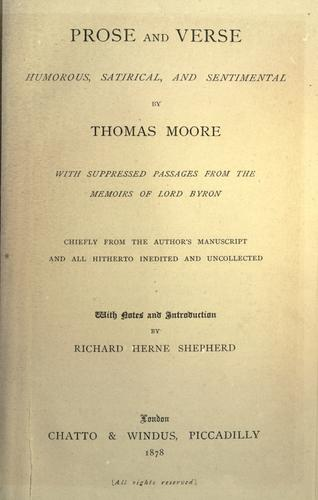 Prose and verse, humorous, satirical, and sentimental by Thomas Moore
